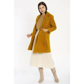 Women's Mustard Single Button Coat 6495