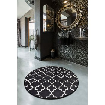 Diameter 140 Mug Black Digital Bathroom Rug, Doormat 8682125928890