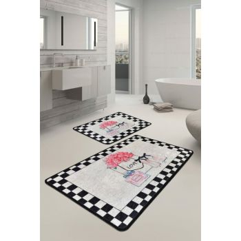 60x100 - 50x60 Parfume Digital Set of 2 Li Bath Rugs, Doormats 8682125927718