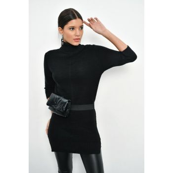 Women Black Turtleneck Sweater Tunic Q107