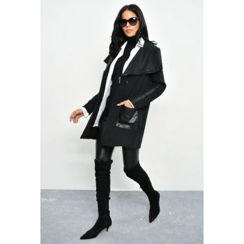 Women's Black Lapel Zipper Long Jacket ZRL03