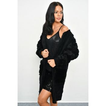 Women's Black Fur Accessory Long Plush Jacket TD65