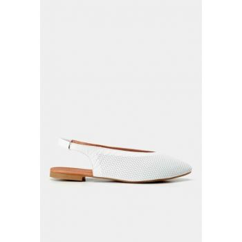Genuine Leather White Women Flats 01AYH146560A900