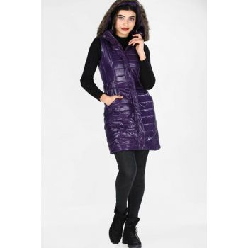 Hooded Inflatable Purple Women Vest YLK0421K5010