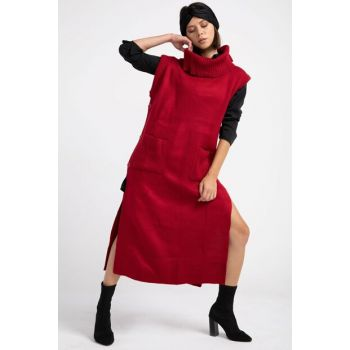Women Red Side Buttoned Long Sweater Vest P-014976