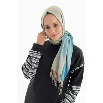 Beige Light Blue Shawl BRL002-190X70CM