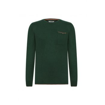 Men's Pine Green Cycling Collar Cotton Pullover 354215