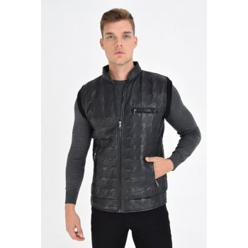Men's Black Quilted Faux Leather Binding Zipper Vest 4390