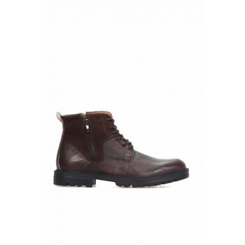Genuine Leather Brown Men's Boots 18WFD3556FT