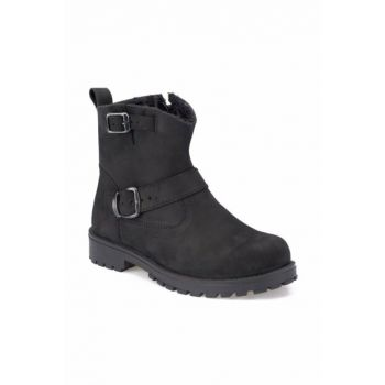 Black Men's Leather Boots 000000000100325416