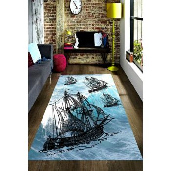 Pirate Ship Patterned Digital Printed Carpet RSP001533