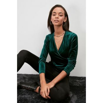Green Double Breasted Collar Knitted Blouse TWOAW20BZ1006