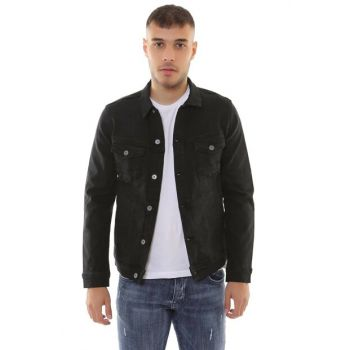 Double Pocket Buttoned Black Men's Denim Jacket d10887