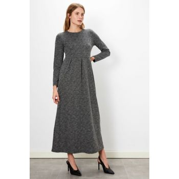 Women's Black Jacquard Dress 9WL093Z8