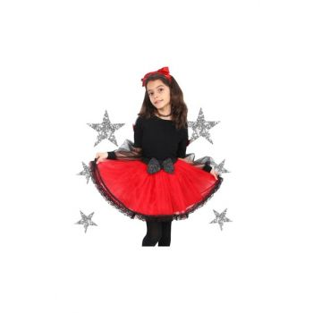 Red - Black Child Tutu Bow Laced Skirt 2301-405