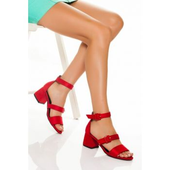 Red Suede Women Heels Shoes VZY6107