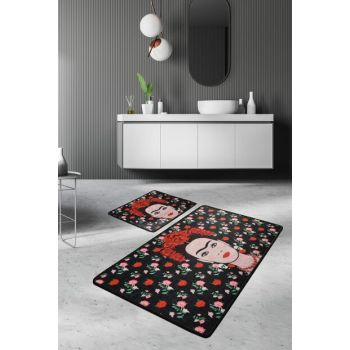 60x100 - 50x60 Frida Black Digital Set of 2 Li Bath Rugs, Doormats 8682125929064