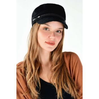Women's Black Cap Hat Hat ADX-0000020360