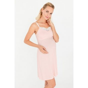 Women's Pink Mom Ruched Breastfeeding Multifunctional Modal Combed Nightdress 29748-B116
