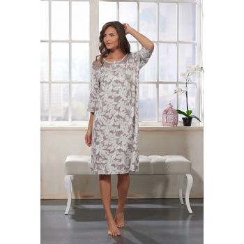 Women Shawl Pattern Ruched Three-quarter Sleeve Nightgown 11035