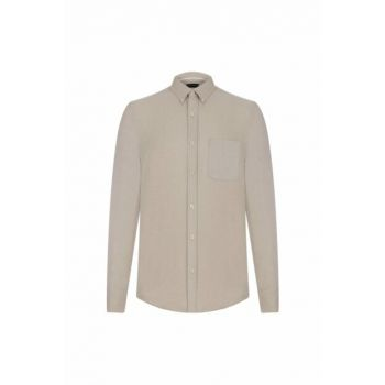 Men's Beige Pocket Detail Slim Woven Shirt 333545