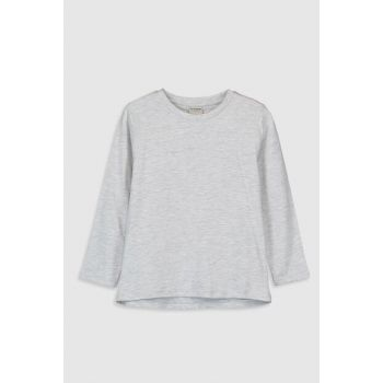Boys' Light Gray Melange Lac-T-Shirt 9W2688Z4