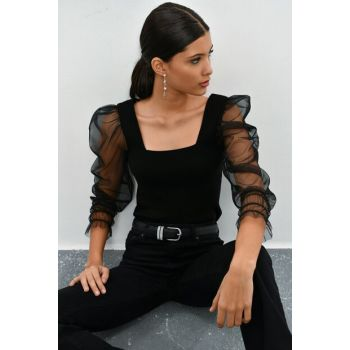 Women's Black Princess Sleeve Gauze Sweater Blouse SF844