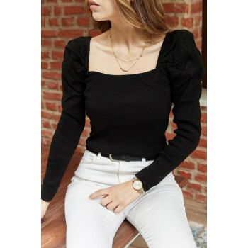 Women's Black Shoulder Pleated Blouse 9YXK2-41888-02