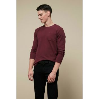 Men's Burgundy Long Sleeve T-Shirt 356916