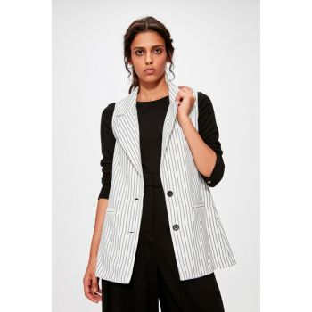 White Striped Vest TWOAW20YE0007