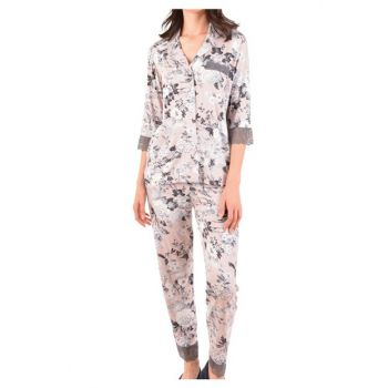 Women's Brown Long Sleeve Pocketed Buttoned Viscose Pajama Set 86953
