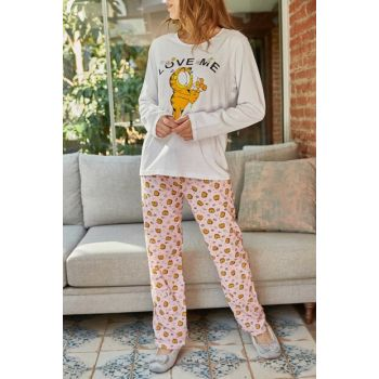 Women's Yellow & Ecru Printed Pajama Set 9YXK8-41883-10