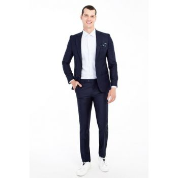 Men's Navy Blue Slim Fit Suit - 81600
