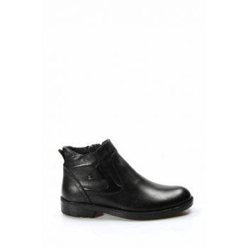 Genuine Leather Black Men Boots 1850079