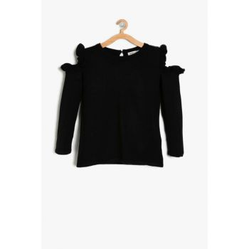 Black Girl's Shoulder Detailed Sweater 9KKG97870HT