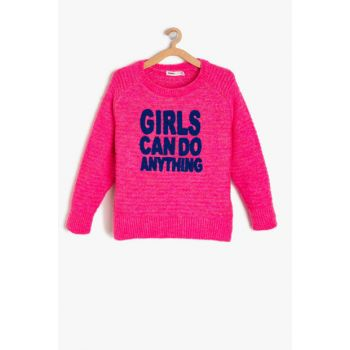 Pink Girl Child Embroidered Sweater 9KKG97104HT