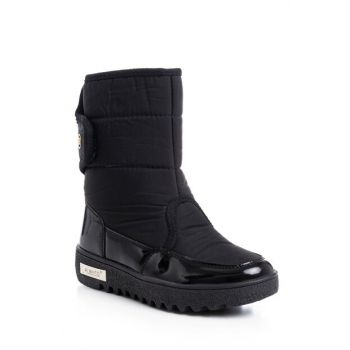 Black Patent Leather Unisex Snow Boots Children CTN-3