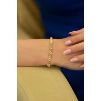 Women's Perforated Model Gold Plated Silver Italian Bracelet PKT-TLYSLVR0019