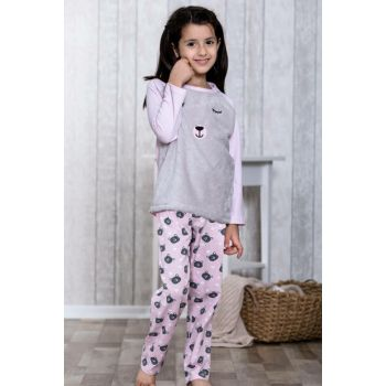 Girls Pink Teddy Bear Patterned Hearted 2 Pajamas Set LB3030