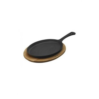 Fajita Pan And Wooden Coasters, 17x23 cm With Handle, Oval LV ECO FT 1723