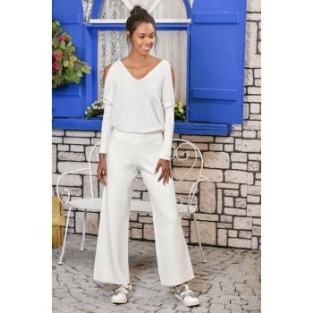 Women Ecru Loose Hem Loose Trousers ALC-Y2851