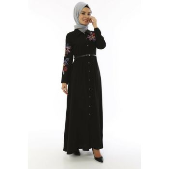 Women's Black Buttoned and Belt Crepe Dress 3536
