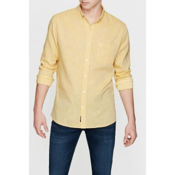 Men's Yellow Linen Shirt 021204-26376