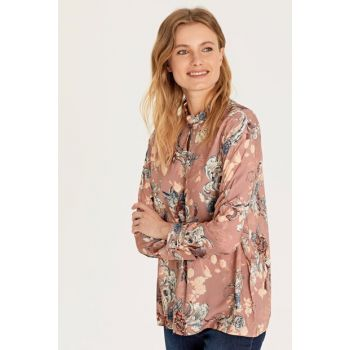 Women's Pink Printed Blouse 9WQ762Z8