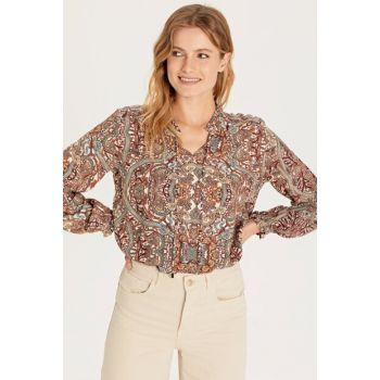 Women's Pink Printed Blouse 9WR919Z8
