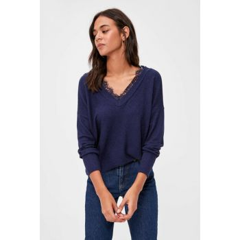 Navy Blue Ruched Blouse TWOAW20BZ0892