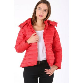 Women's Red Hooded Inflatable Coats 5083 5083BGD19_006
