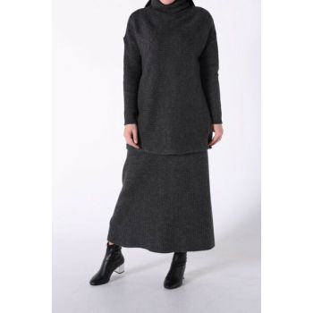 Women's Anthracite Turtleneck Skirt Set TT80231