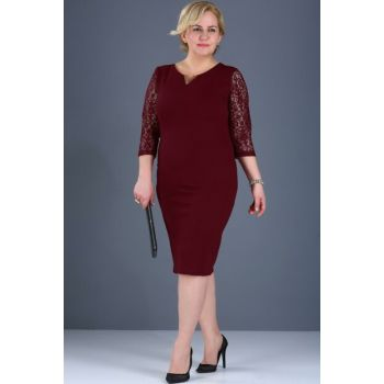 Women's Sleeves Lace Processing Back Button Detail Burgundy Dress ELB000136818