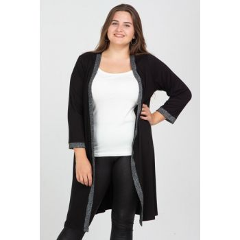 Women's Black Sleeve Mouth And Front Detailed Cardigan 65N12285